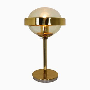 Mid-Century Modernist Hand-Blown Glass and Brass Table Lamp, 1960s