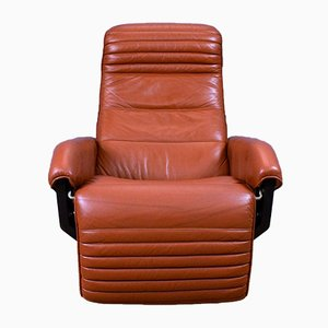 Mid-Century Danish Tan Leather Reclining Lounge Armchair from Bramin, 1970s