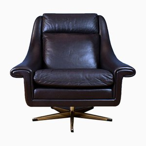 Mid-Century Danish Brown Leather Swivel Lounge Chair by Aage Christiansen for Erhardsen & Andersen, 1960s