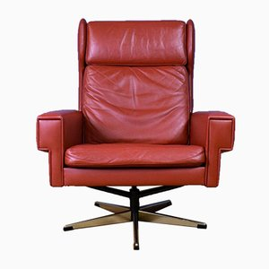 Mid-Century Danish Red Leather Swivel Chair, 1960s