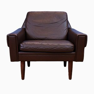 Mid-Century Danish Brown Leather Lounge Armchair, 1960s