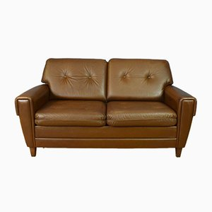 Mid-Century Danish Buttoned Brown Leather 2-Seat Sofa, 1960s