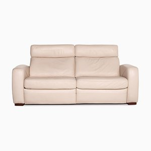 Cream Leather 2-Seat Function Sofa from Musterring