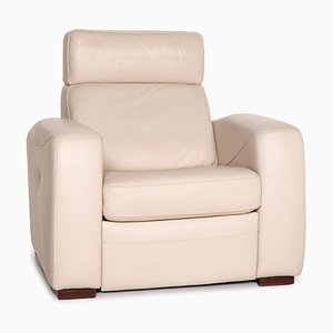 Cream Leather Function Armchair from Musterring