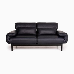 Dark Blue Leather Plura 2-Seat Relax Function Sofa Bed from Rolf Benz