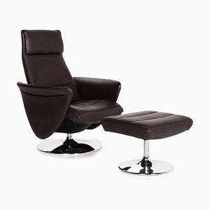 Dark Brown Leather DS 47 Relax Function Armchair & Stool from de Sede, Set of 2
