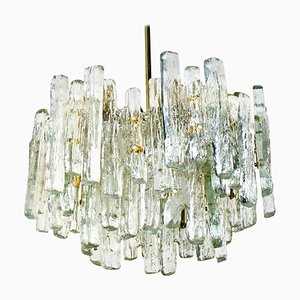 Large Modern Ice Glass 3-Tier Chandelier from Kalmar Lighting, 1970s