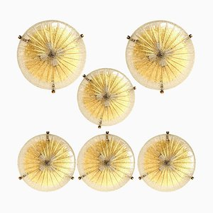 Thick Massive Handmade Glass & Brass Flush Mount or Wall Light from Hillebrand, 1969