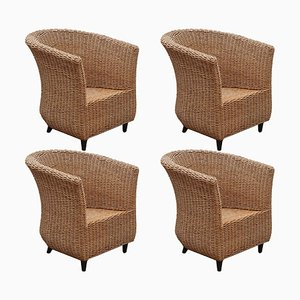 Cord Woven Bucket Lounge Chairs, Italy, 1980s, Set of 4