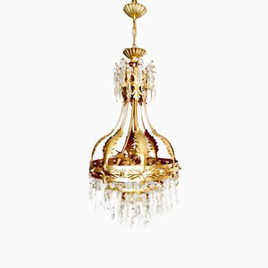 MId-Century Gold Gilded Chandelier, 1950s