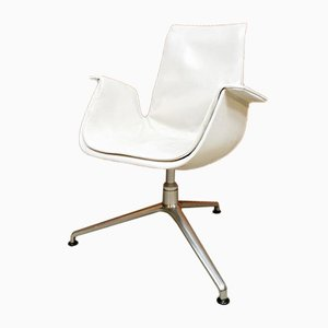 Vintage White Leather Tulip Office Chair from Kill International, 1960s