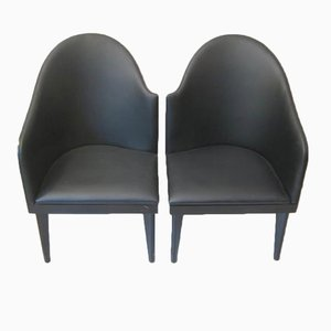 Wood and Faux Leather Armchairs by Piero Sartogo & Nathalie Grenon Tuscana for Saporiti, 1986, Set of 2