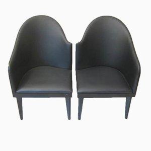Wood and Faux Leather Armchairs by Piero Sartogo & Nathalie Grenon Tuscana for Saporiti, 1986, Set of 2