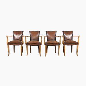 French Leather Bridge Chairs, 1930s, Set of 4