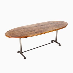 French Oval Dining Table with Cast Iron Base, 1930s