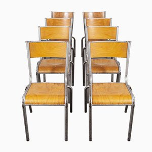 French Silver Dining Chairs from Mullca, 1950s, Set of 8