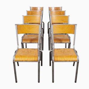 Silberne Französische Esszimmerstühle von Mullca, 1950er, 8er Set