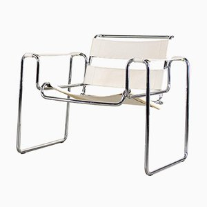 Bauhaus White Leather Armchairs, Set of 2