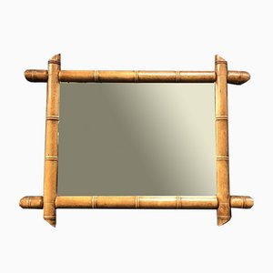 Wide Faux Bamboo Mirror, 1900s