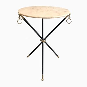 French Black Lacquered Metal & Brass Folding Tripod Gueridon with Marble Top in the Style of Jacques Adnet, 1940s