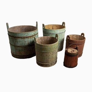 18th Century Swedish Rustic Barrels, Set of 5