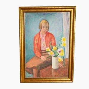 Ragazza con fiori Ritratto ad olio su tela, anni '40