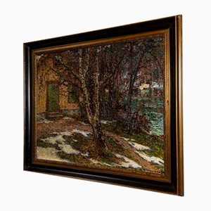Large Antique Swedish Oil on Canvas, 1900s
