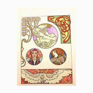 Alfons Mucha - Litografía original - Femmes Art Nouveau 1902