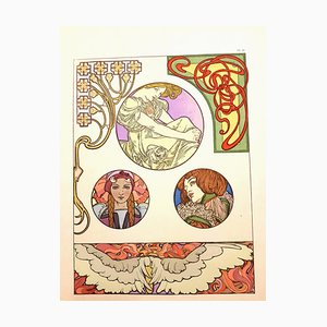 Alfons Mucha - Litografia originale - Femmes Art Nouveau 1902