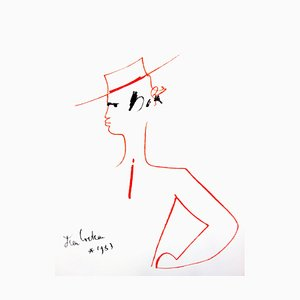 Jean Cocteau - Man with Hat - Original Lithograph 1965