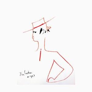 Lithographie 1965 de Jean Cocteau - Homme au Chapeau