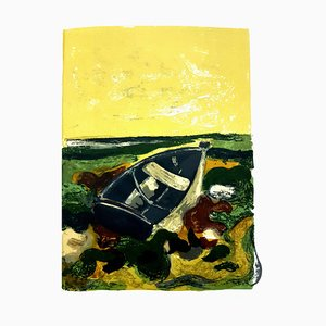 André Minaux - Abandoned Boat - Original Lithograph 1964