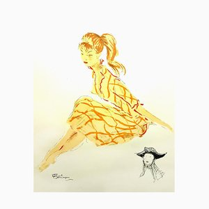 Domergue - Eine einfache junge Frau - Original Lithographie von 1956