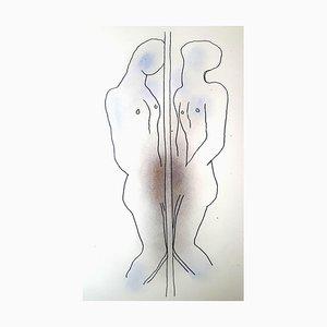 Litografia Jean Cocteau - Duality - Litografia originale colorata a mano 1930
