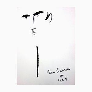 Litografía original Jean Cocteau - Portrait - Original 1965