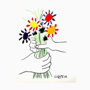 After Pablo Picasso - Colorful Flowers - Lithograph 1958