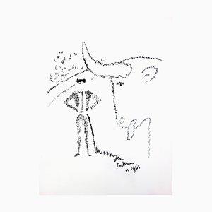 Lithographie 1965 de Jean Cocteau - Bull Portrait - Original Lithograph