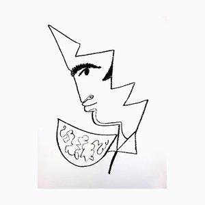 Jean Cocteau - Portrait - Litografia originale, 1965