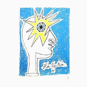 Jean Cocteau - Profil - Litografía original años 50