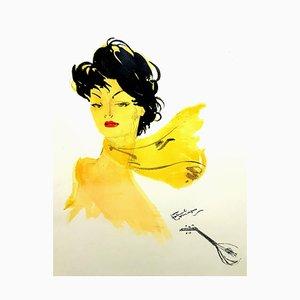 Domergue - Dame mit dunklem Haar und Schal - Original Lithographie 1956
