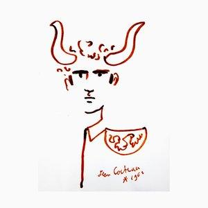 Litografia originale 1965 di Jean Cocteau - Bull - Man