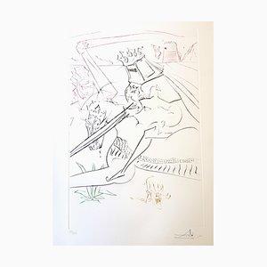 Aguafuerte original de Salvador Dalí - The Black Knight 1975