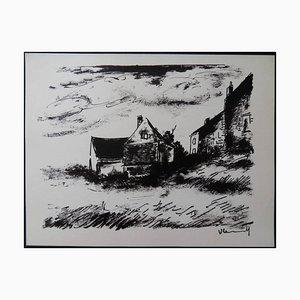 Maurice de Vlaminck - House in Rueil - Original Lithograph 1958