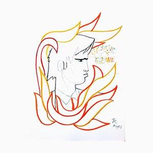 Jean Cocteau - Fire Portrait - Original Lithograph 1965