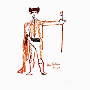Jean Cocteau - Porträt - Original 1965 Lithographie