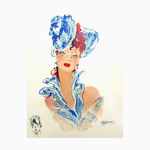 Lithographie Domergue - Elegance - Original Signed 1956