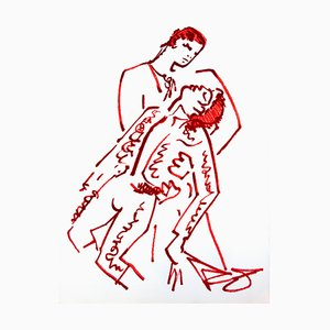 Jean Cocteau - Lovers - Litografia originale, 1965