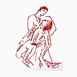 Lithographie de Jean Cocteau - Lovers - Original Lithograph 1965