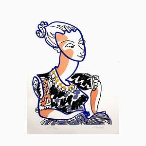 Charles Lapicque - Portrait - Original Handsigned Lithograph - Ecole de Paris Circa 1960