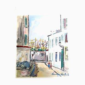 Village Inspiré de Montmartre - Pochoir 1950